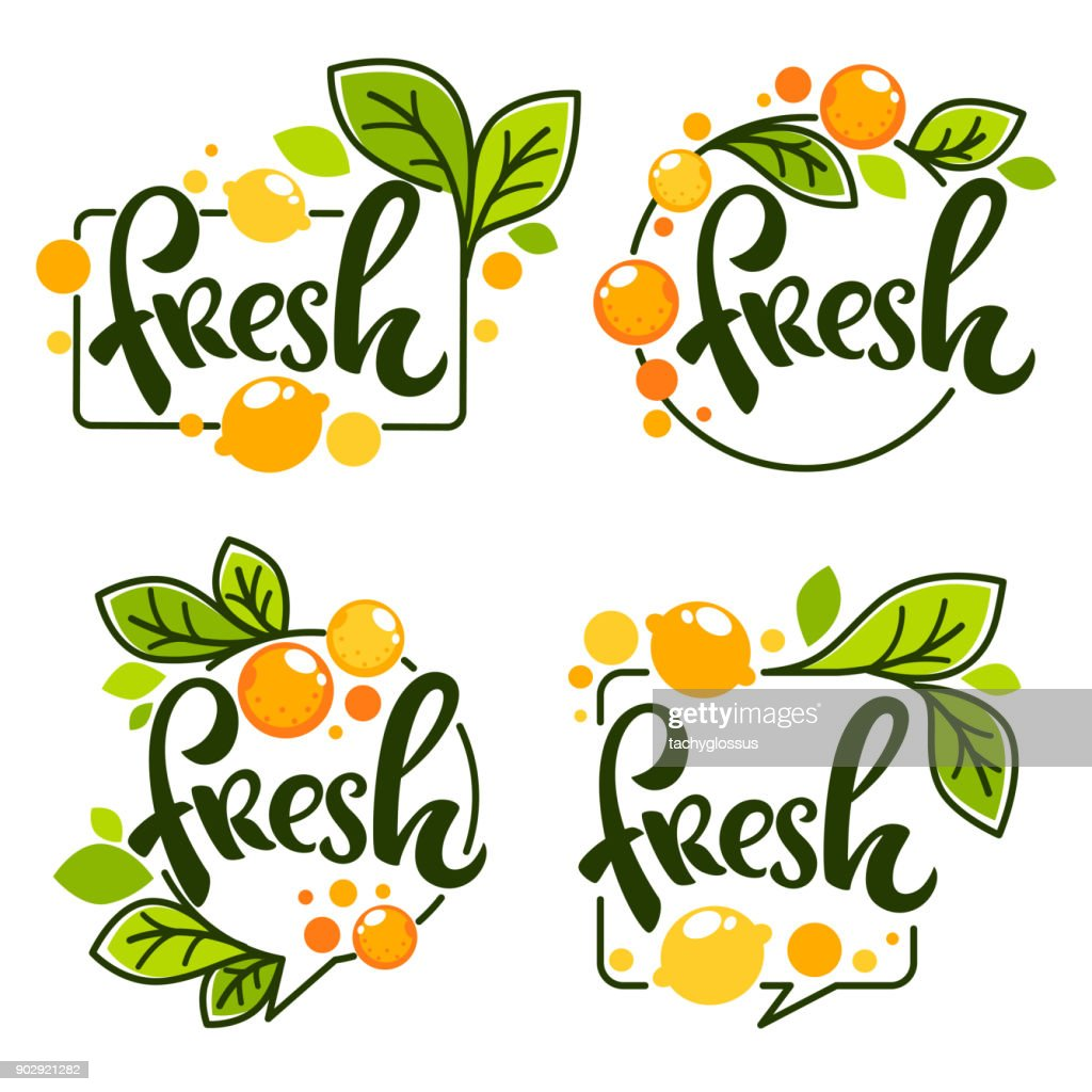 vector collection of bright   stickers, emblems icon and labels for lemon and orange fresh citrus juice with lettering composition
