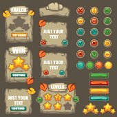 vector collection of buttons, objects, interface elements