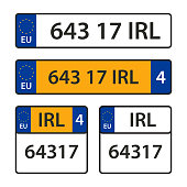 Vector collection of car number plates