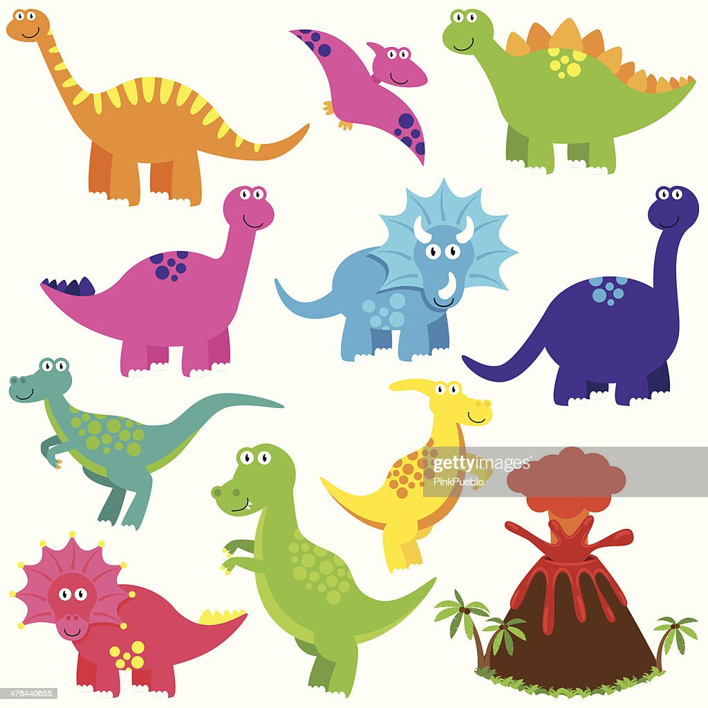 Vector Collection of Cartoon Dinoaurs with a Volcano