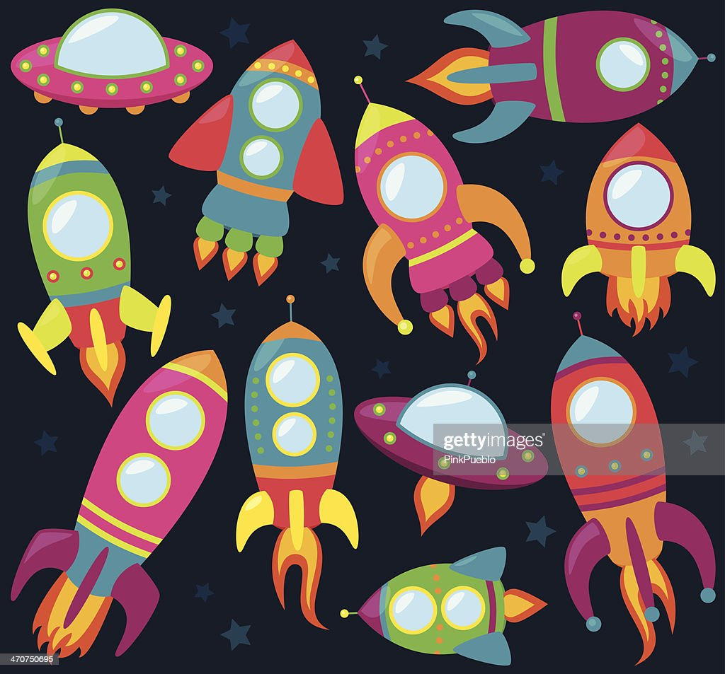 Vector Collection of Cartoon Rocketships