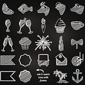 Vector Collection of Chalkboard Style Wedding or Engagement Icons