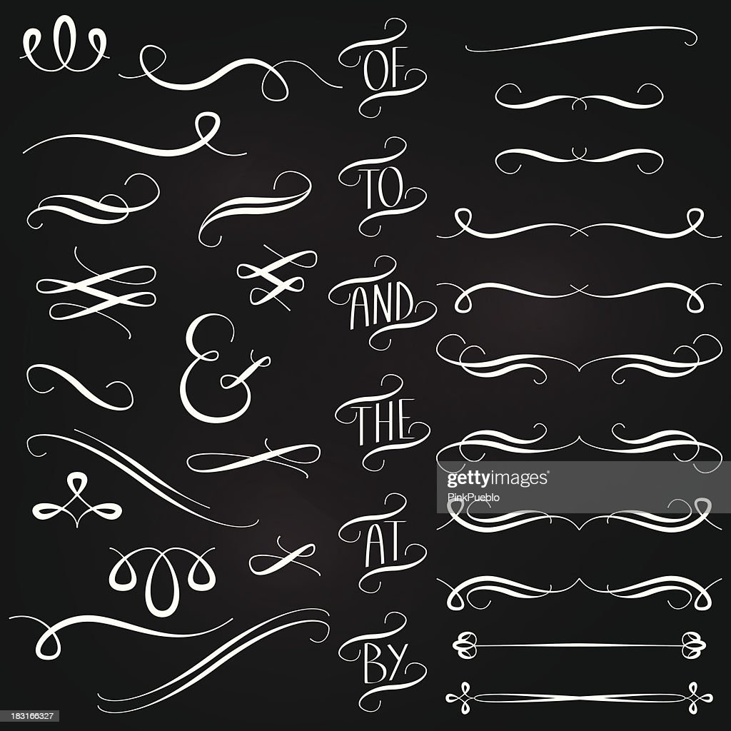Vector Collection of Chalkboard Style Words, Decoration, Ornaments and Dividers