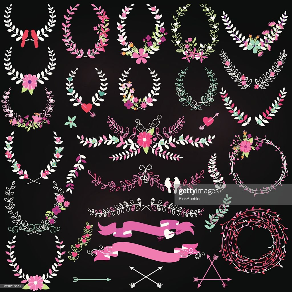 Vector Collection of Chalkboard Valentine's Day or Wedding Laurels