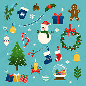 Vector collection of christmas items, elements and decorations. Flat design modern vector illustration concept.
