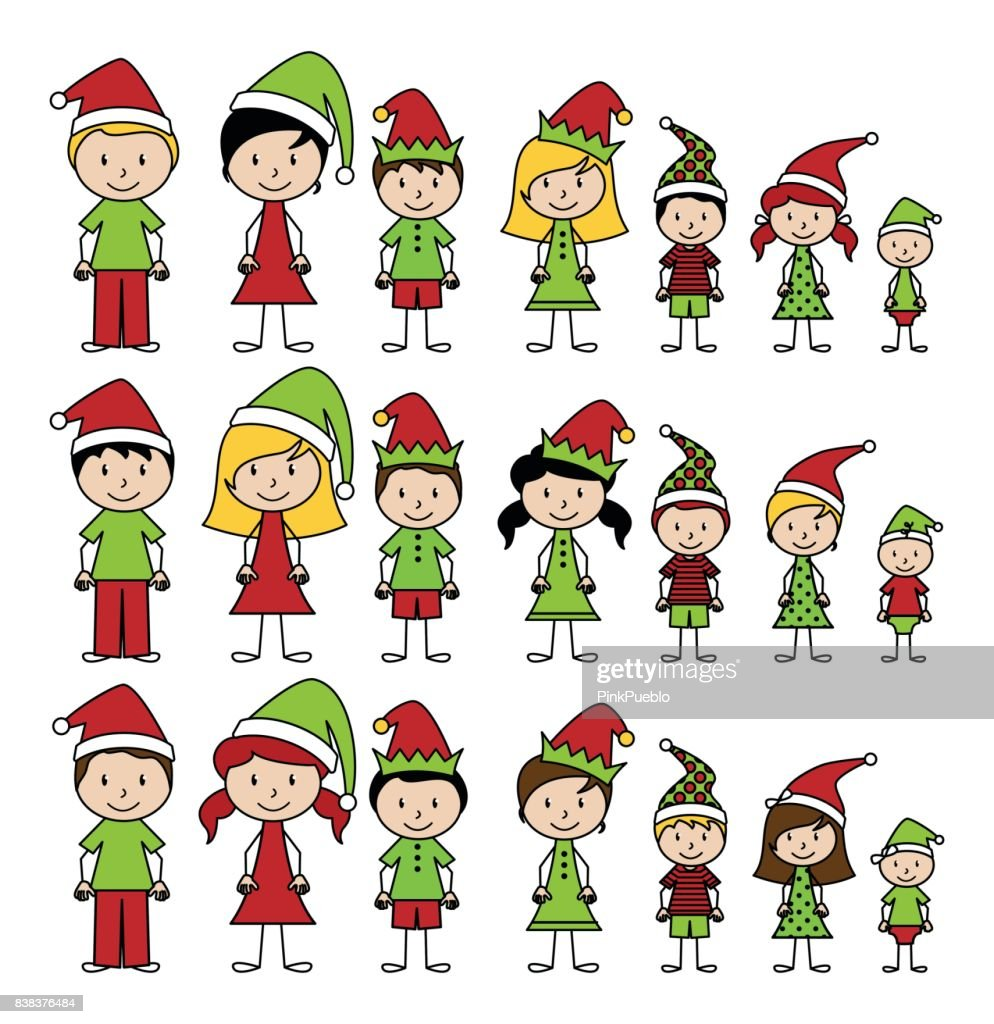Vector Collection of Christmas or Holiday Style Stick Figures