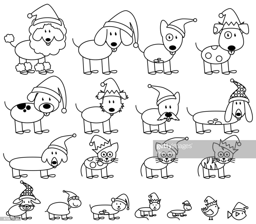 Vector Collection of Christmas Themed Stick Figure Pets