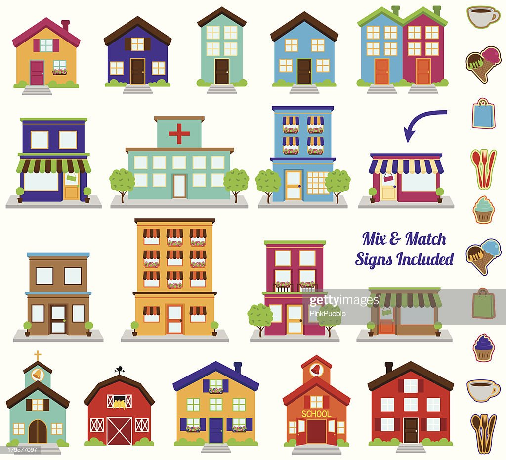 Vector Collection of City and Town Buildings, including various signs