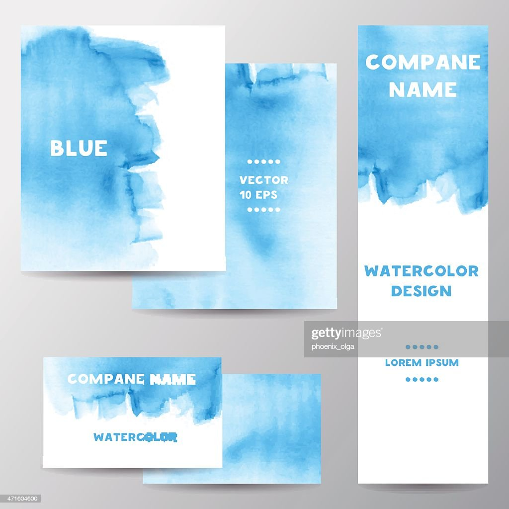 Vector Collection of colored watercolor banners