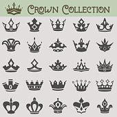 Vector collection of crown silhouettes.