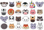 Vector collection of cute animal faces, big icon set for baby design