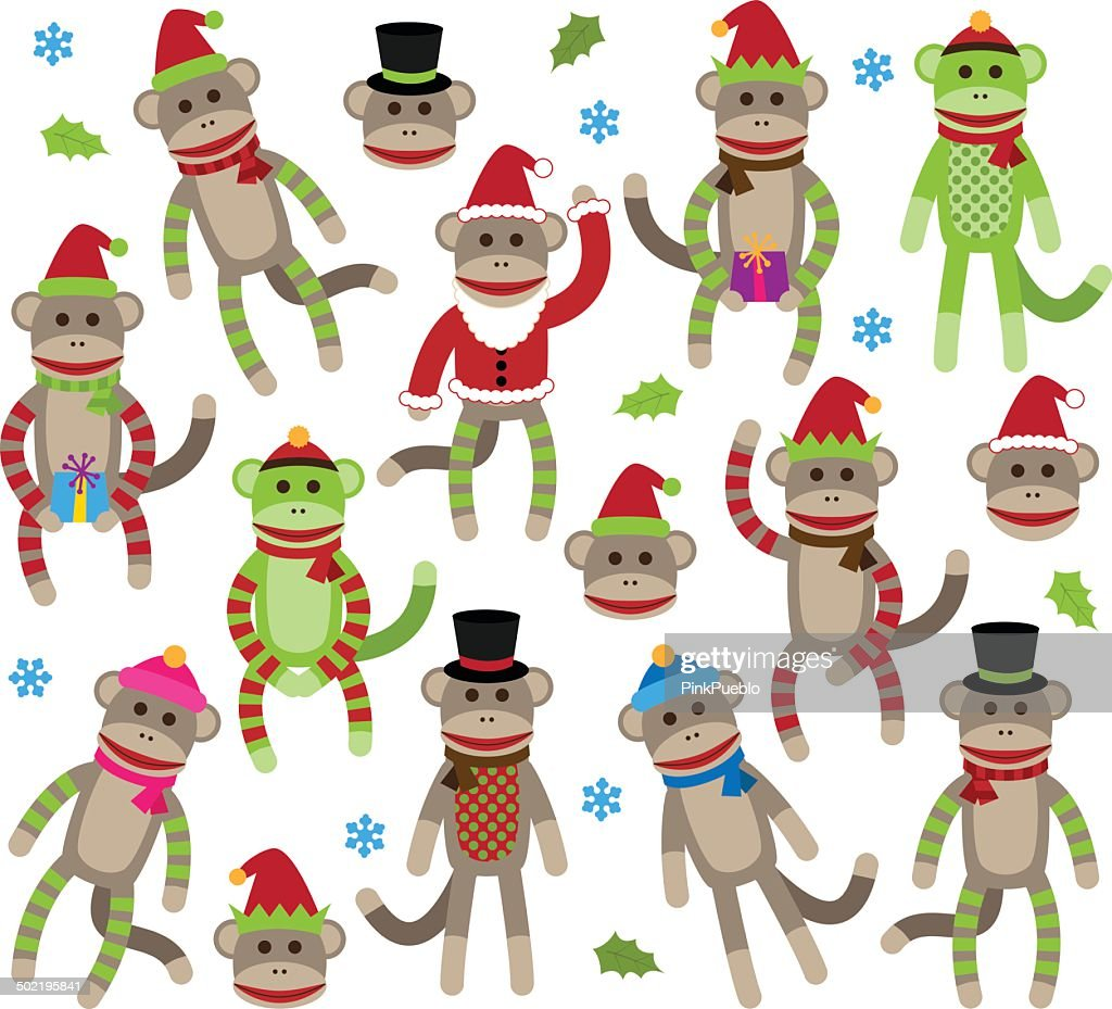 Vector Collection of Cute Christmas and Winter Themed Sock Monkeys