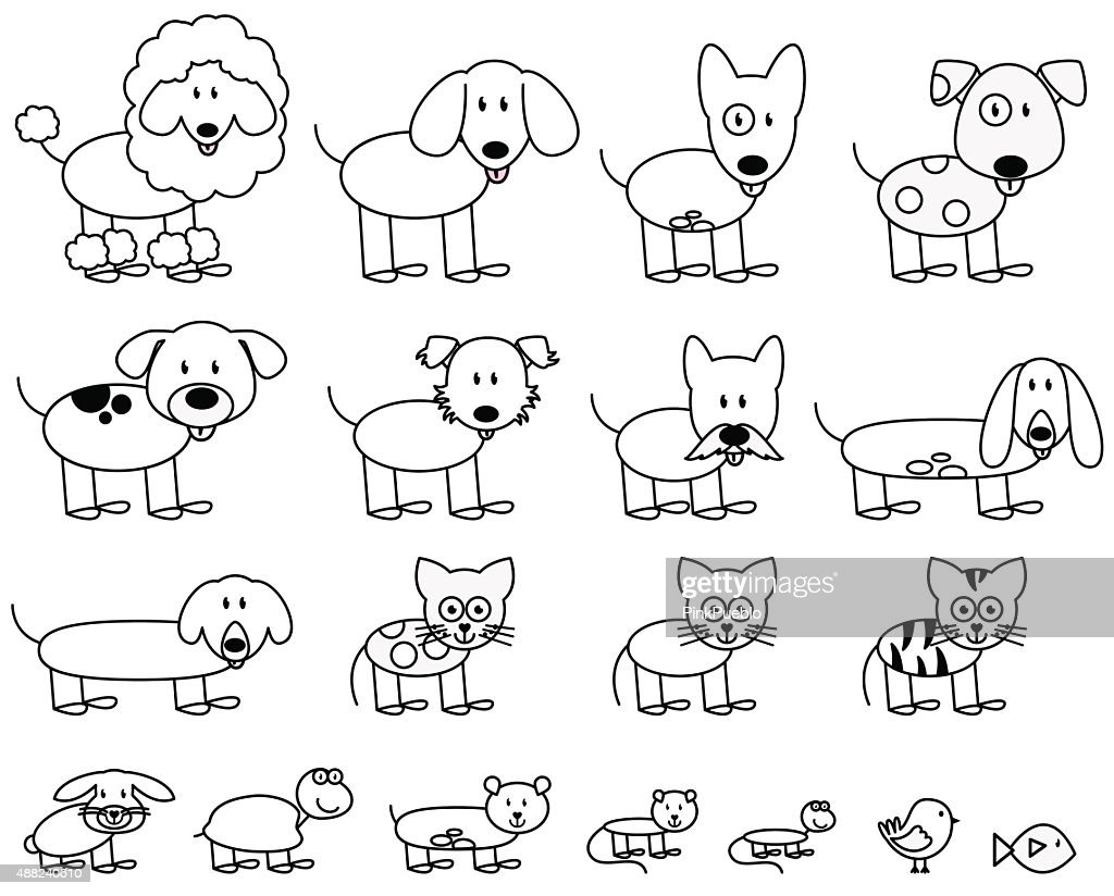 Vector Collection of Cute Stick Figure Pets and Animals