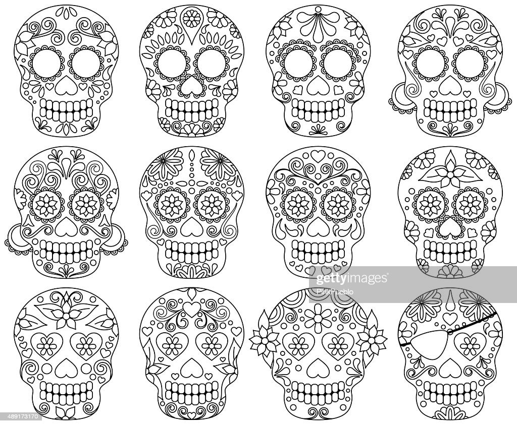 Vector Collection of Day of the Dead Skulls or Sugar Skulls