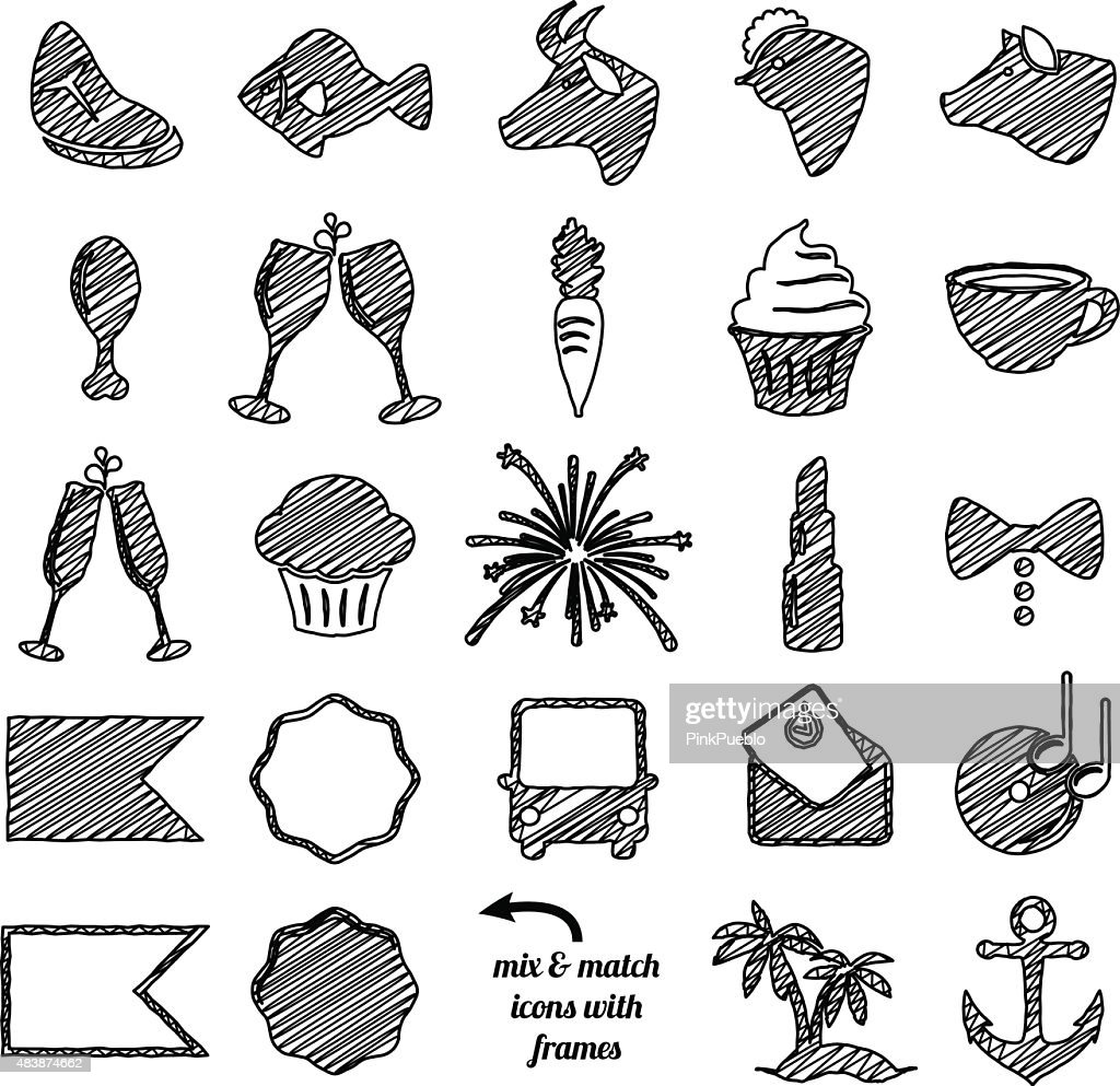 Vector Collection of Doodle and Scribble Style Wedding Icons