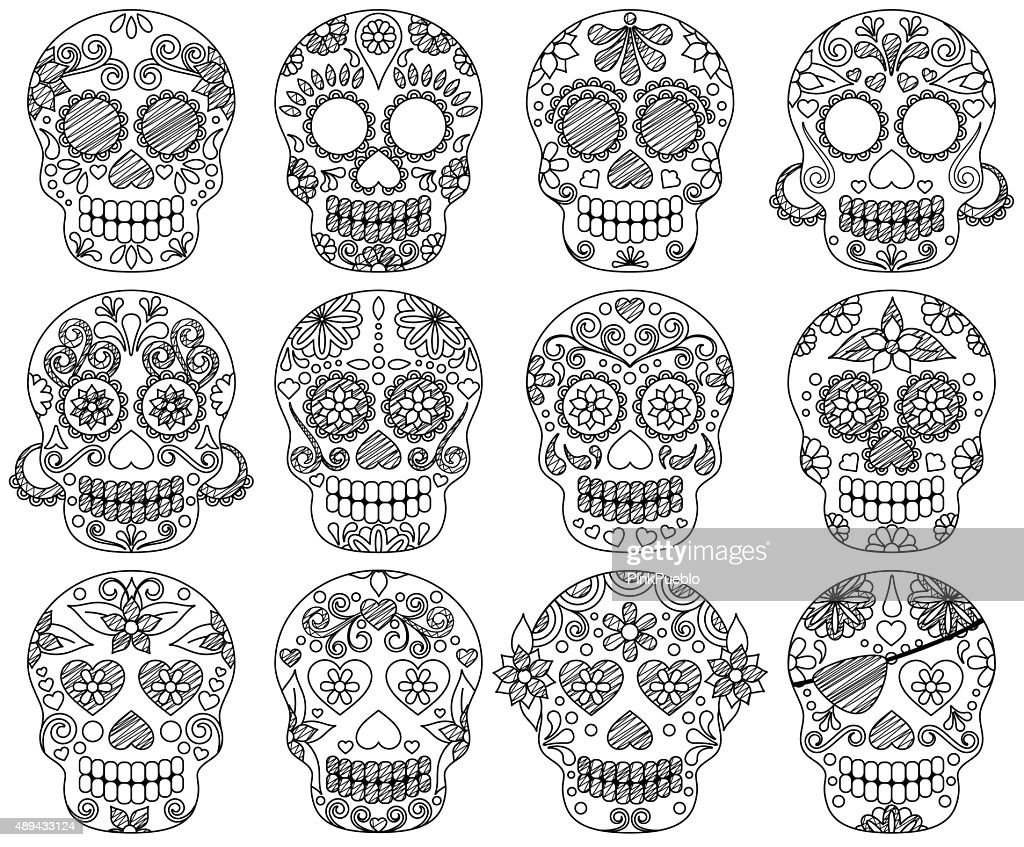Vector Collection of Doodle Day of the Dead Skulls