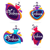 vector collection of fashion boutique and store icon, label, emblems with bright balloon dresses and lettering composition