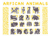 Vector collection of flat African cute animal icons isolated on white background.