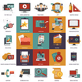 Vector collection of flat and colorful business, marketing, finance, education and technology concepts. Design elements for web and mobile applications