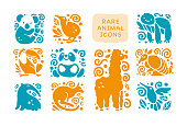 Vector collection of flat cute animal icons isolated on white background.