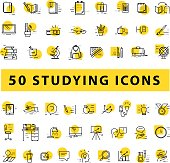 Vector collection of flat simple linear education icons