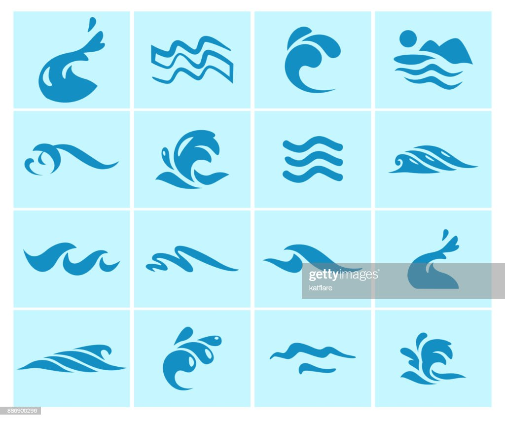 Vector collection of flat water wave icons isolated on blue background.