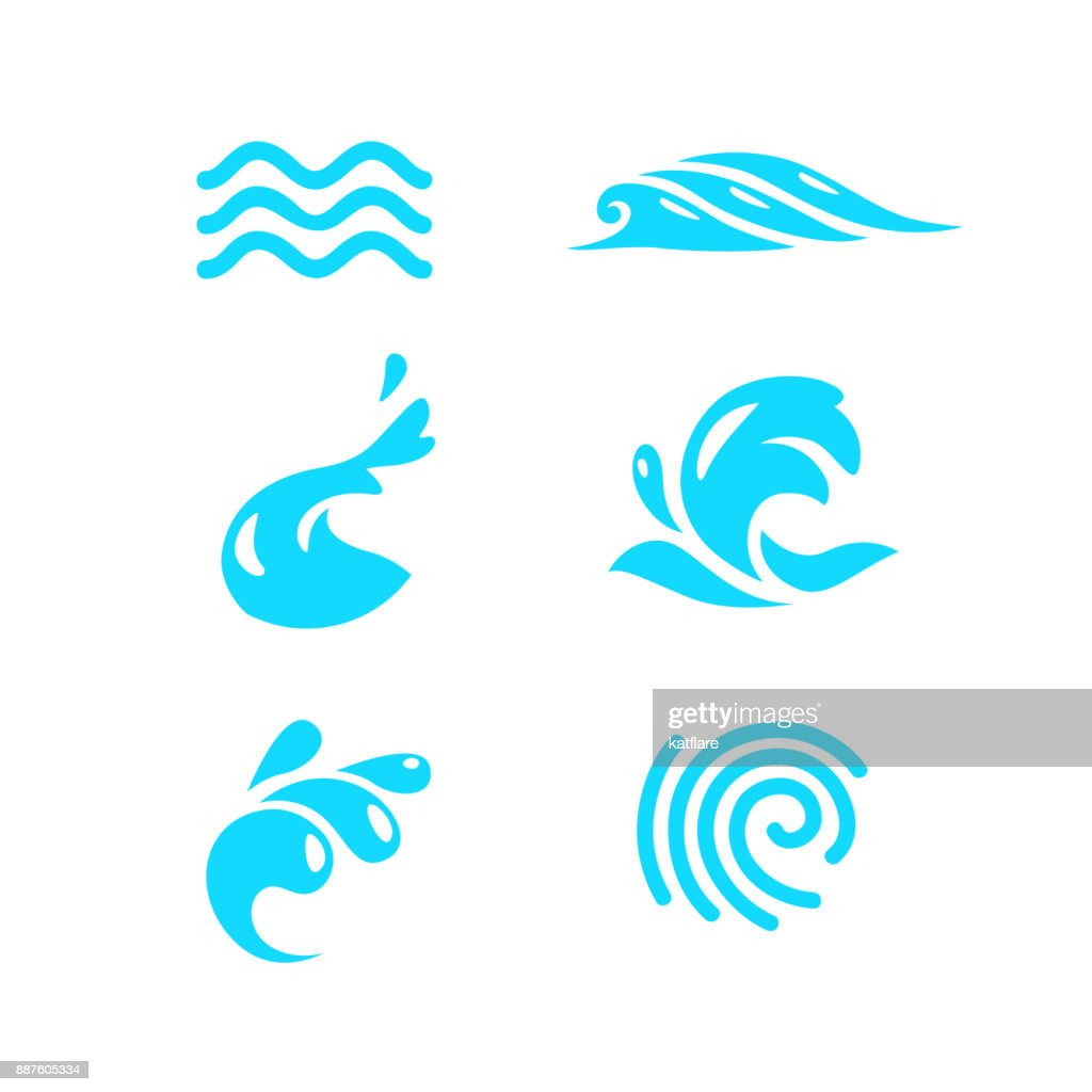 Vector collection of flat water wave icons isolated on white background.