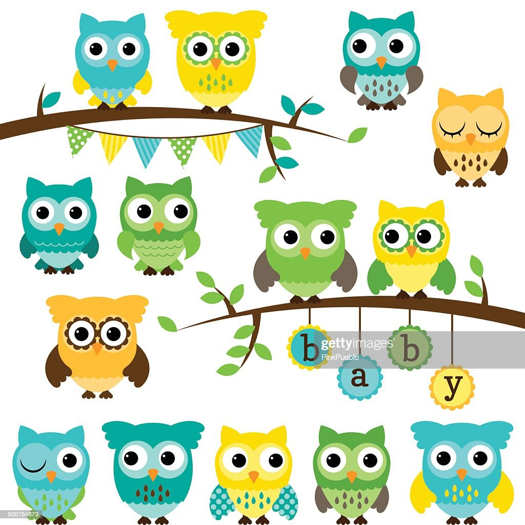 Vector Collection of Gender Neutral Baby Shower Themed Owls
