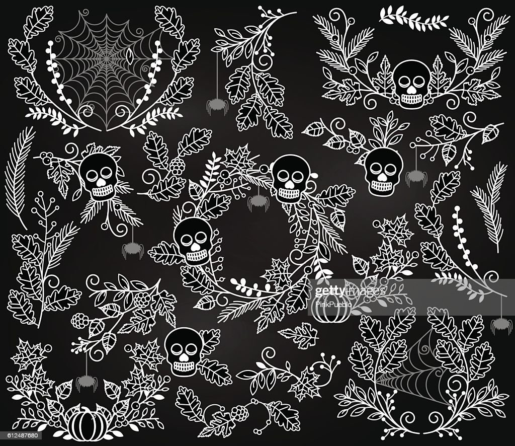 Vector Collection of Halloween Florals, Laurels and Wreaths