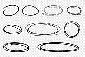 Vector collection of hand drawn line circles