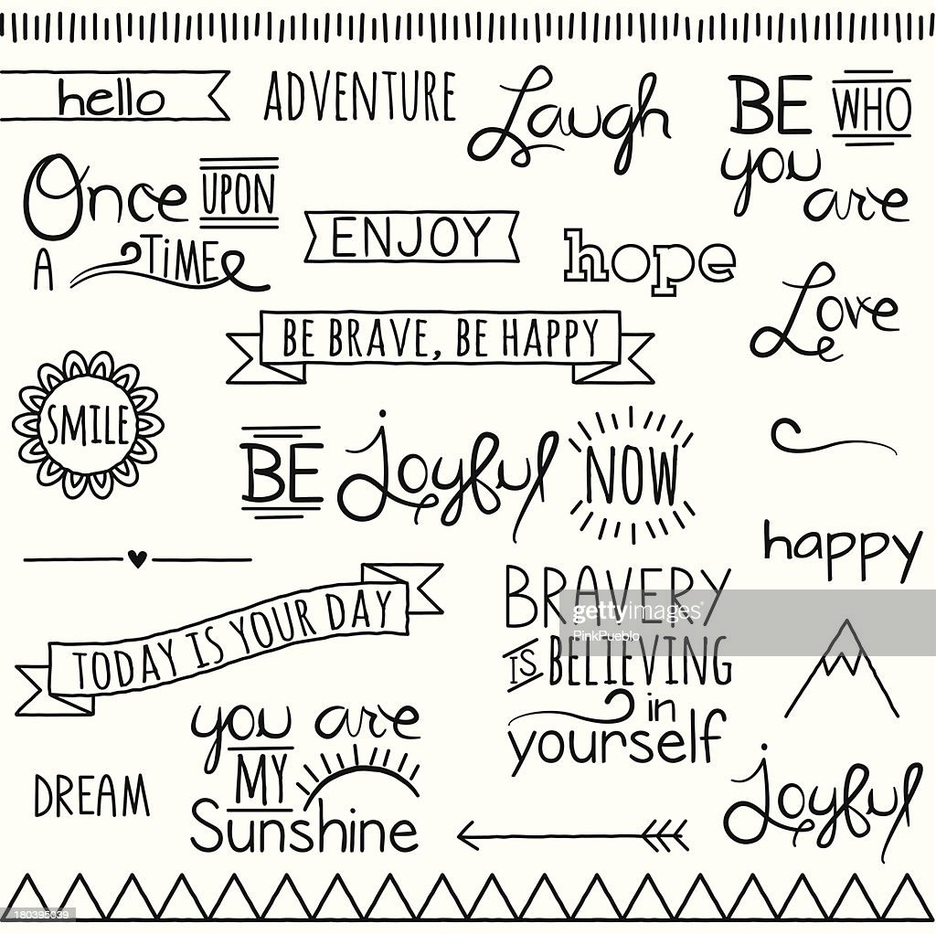 Vector Collection of Hand Inspirational Drawn Words and Phrases