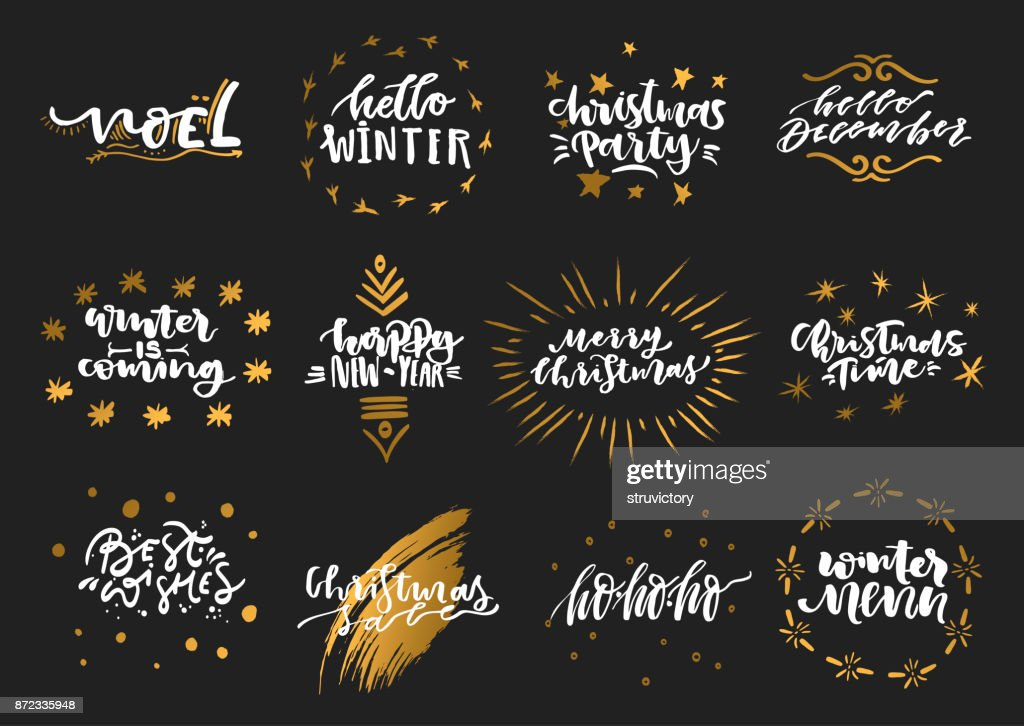 Vector collection of hand-drawn trendy white lettering with golden elements on theme of Christmas, winter, New Year on a black background..