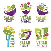 vector collection of healthy cooking icon and  organic food symbols for your salad bar or vegan menu