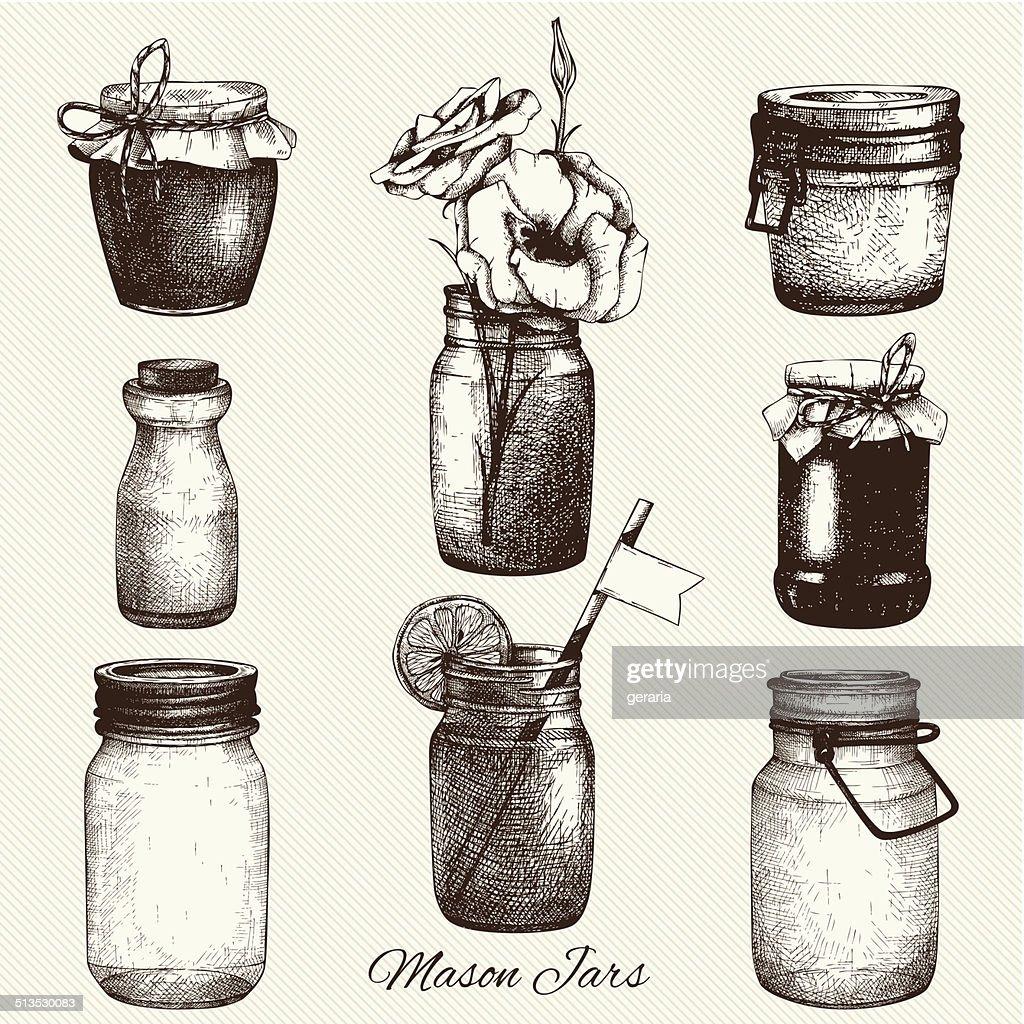 Vector collection of ink hand drawn mason jars.