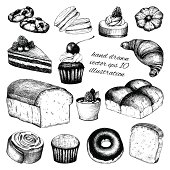 Vector collection of ink hand drawn vintage breads and pastries