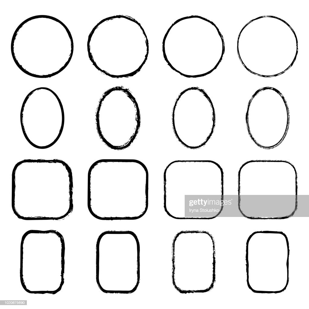 Vector collection of ink-drawn round, oval, square, rectangular grunge frames