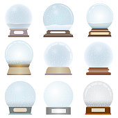 vector collection of isolated snow globes