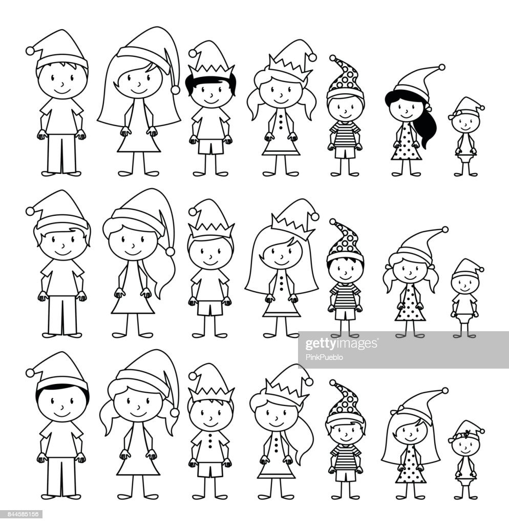 Vector Collection of Line Art Christmas or Holiday Themed Stick Figures