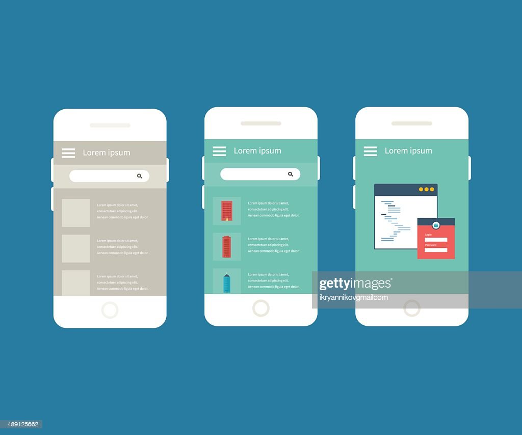 Vector collection of mobile phones with different user interface elements