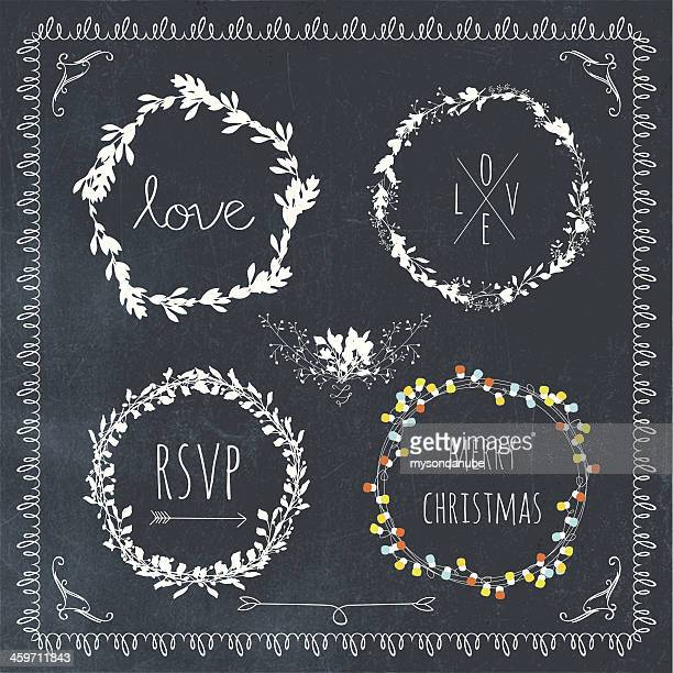 vector collection of ornamental laurel wreath designs on blackboard - wedding invitation stock illustrations, clip art, cartoons, & icons