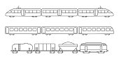 Vector collection of rail transport silhouettes