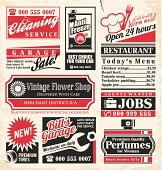 Vector collection of retro press ads