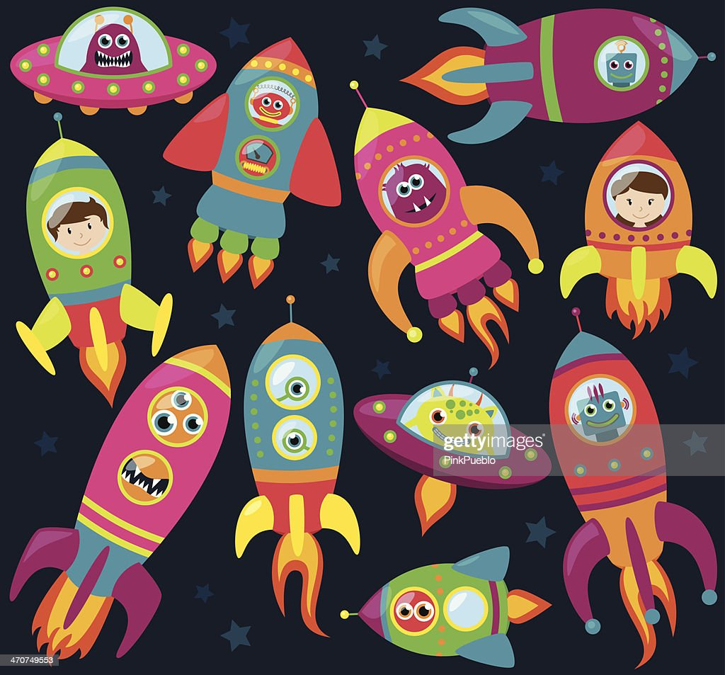 Vector Collection of Retro Style Rocketships and Spaceships with Aliens