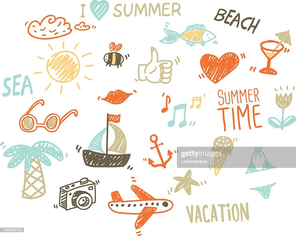 Vector collection of summer elements in sketch style