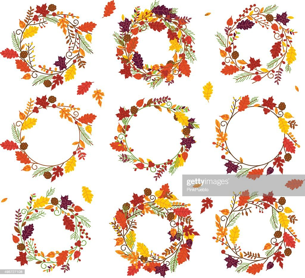 Vector Collection of Thanksgiving, Autumn or Fall Themed Wreaths