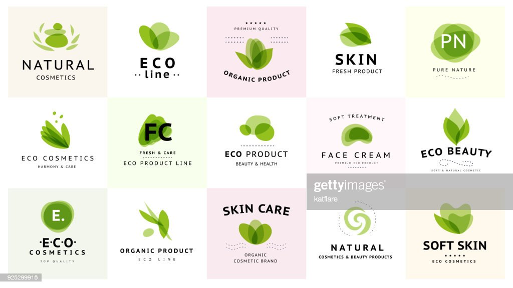 Vector collection of transparent beauty, eco cosmetics and healthy treatment symbols in green colors isolated on white background.