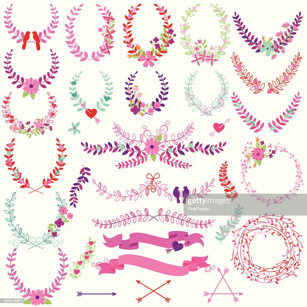 Vector Collection of Valentine's Day or Wedding Themed Laurels