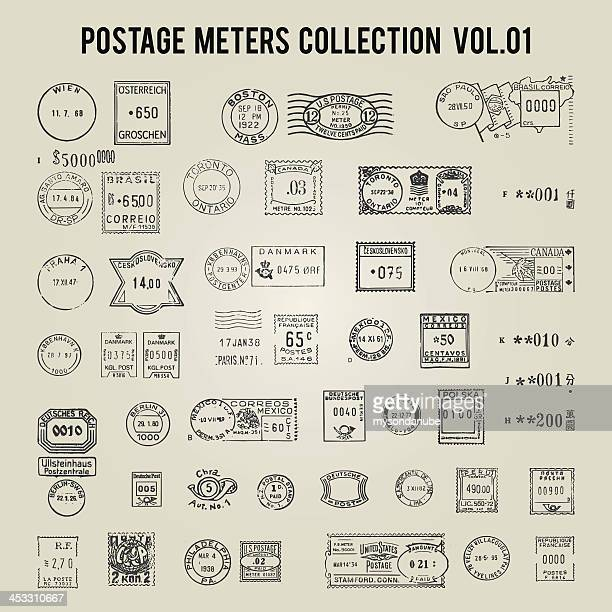 vector collection of vintage postage stamps