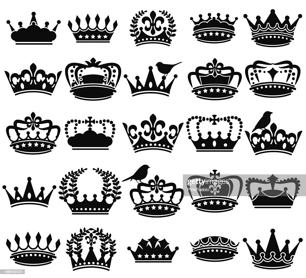 Vector Collection of Vintage Style Crown Silhouettes