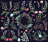 Vector Collection of Vintage Style Hand Drawn Florals